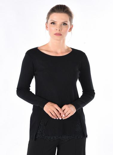 Optique Knitwear Düz V Yaka Uzun Kol Triko Kazak Siyah